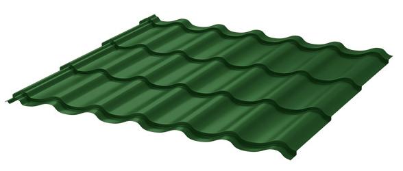 Зелёная метталочерепица для кровли балкона