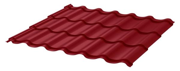 Красная метталочерепица для кровли балкона
